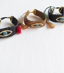 Pulsera trenza leather ojo turco