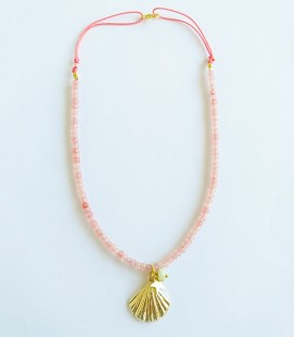 Collar piedra coral concha dorada
