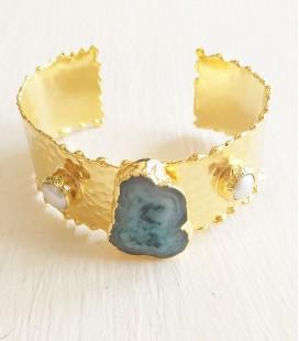 brazalete piedra perlas