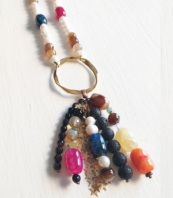 Collar perla multicolor