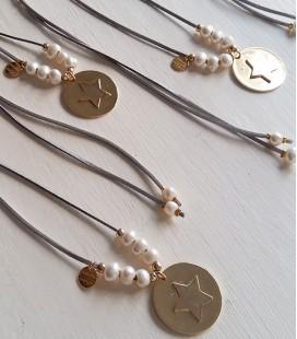 Collar perlas medallón estrella